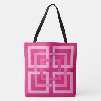 Carrés géométriques modernes, fuchsia et sac