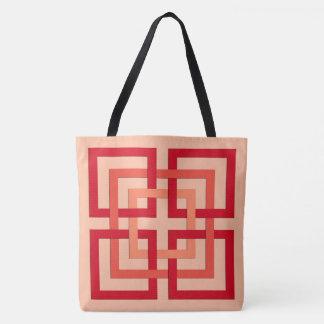 Carrés géométriques modernes, orange de corail et sac
