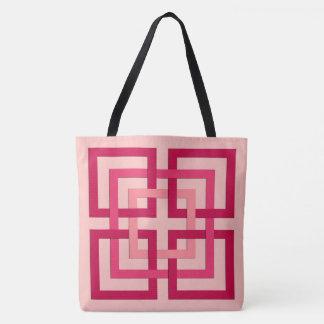 Carrés géométriques modernes, rose de corail et sac