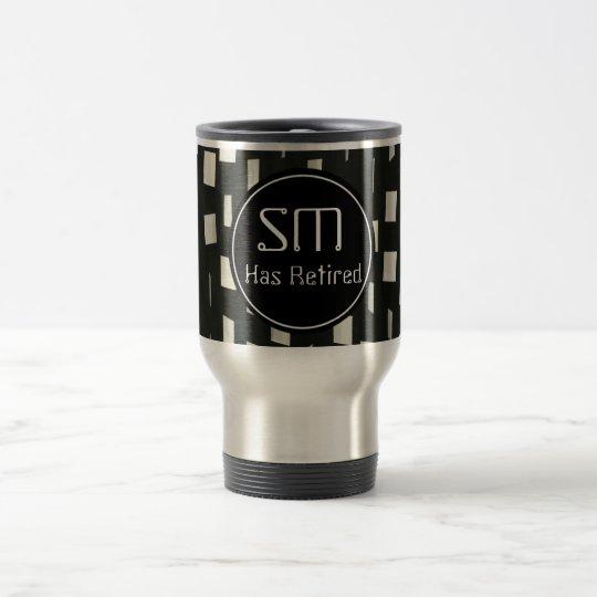 Carrés noirs avec des initiales personnelles - mug de voyage