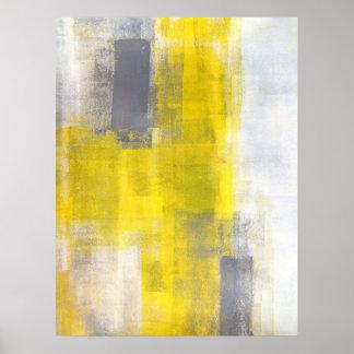 """""""Carrés simples gris et art abstrait jaune Affiche"""