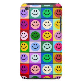 Carrés souriants de visage d'arc-en-ciel étuis barely there iPod