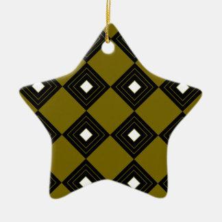 Carrés vintages d'ethno d'or du Maroc Ornement Étoile En Céramique