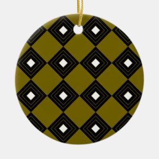 Carrés vintages d'ethno d'or du Maroc Ornement Rond En Céramique