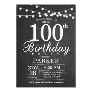 Carte 100th Lumières de ficelle de tableau d'invitation