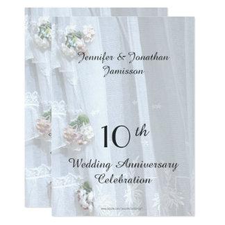 Carte 10ème Fête d'anniversaire de mariage, dentelle