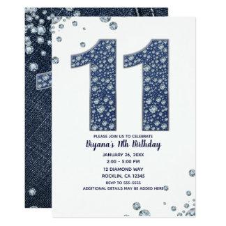 Carte 11ème anniversaire 11 de denim et d'étincelle de