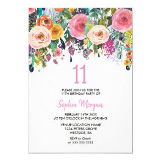 Carte 11èmes fleurs de rose d'invitation de fête