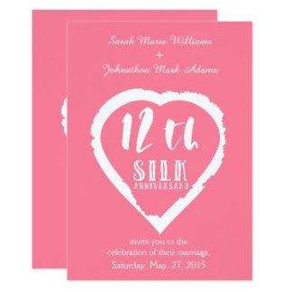 Carte 12ème soie d'anniversaire de mariage