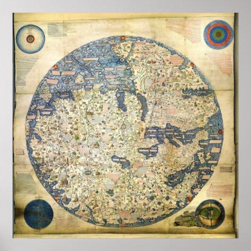 carte 1450 du monde par le moine v nitien atf maur posters. Black Bedroom Furniture Sets. Home Design Ideas