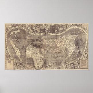 Carte 1507 du monde de Martin Waldseemuller Poster