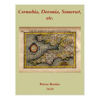 Carte 1610 des Cornouailles, de Devon, de