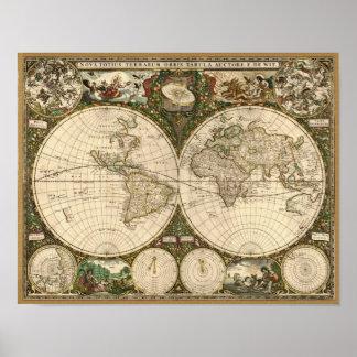 Carte 1660 du monde d antiquité par Frederick de W Poster