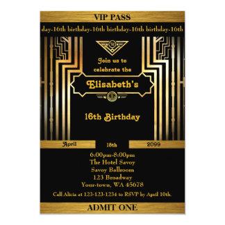 Carte 16ème, anniversaire 16ème, style de Gatsby,