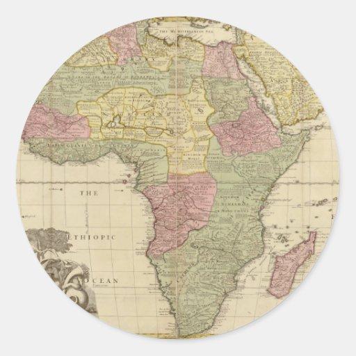 Carte 1725 de l'Afrique de cru Adhésifs Ronds