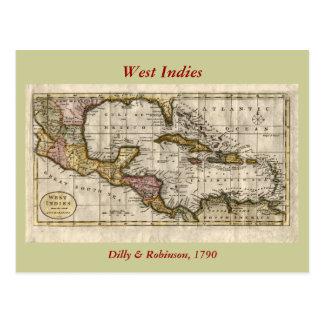 Carte 1790 des Antilles par Dilly et Robinson