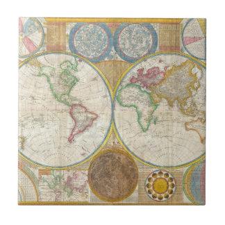 Carte 1794 de Samuel Dunn du monde dans les hémisp Petit Carreau Carré