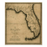 Carte 1823 de la Floride Affiches