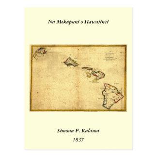 Carte 1837 - îles d'Hawaï de cru hawaïennes