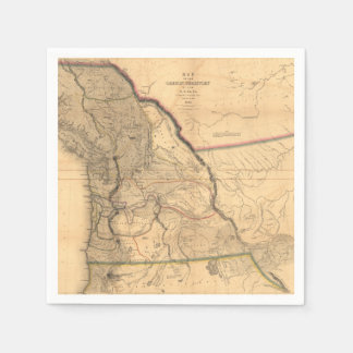 Carte 1841 du nord-ouest Pacifique de l'Orégon de Serviette Jetable
