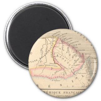 Carte 1858 d'Amerique Francaise (Guyane), Guyane Magnet Rond 8 Cm