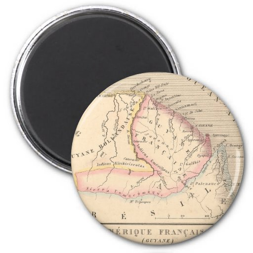 Carte 1858 d'Amerique Francaise (Guyane), Guyane Aimants