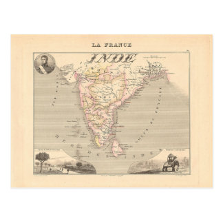 Carte 1858 de Français Inde (Inde, France)