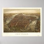 Carte 1874 panoramique de vue d'oeil d'oiseaux de  posters