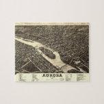 Carte 1882 de vue d'oeil d'oiseau de l'aurore l'Il Puzzles