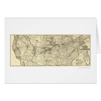 Carte 1888 de chemin de fer d'île de roche