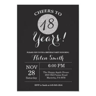 Carte 18ème Noir d'invitation d'anniversaire et