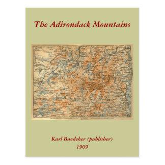 Carte 1909 d'Adirondacks du guide du voyage du