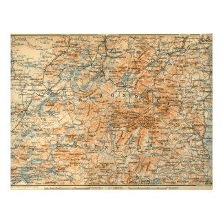 Carte 1909 d'Adirondacks du guide du voyage du Bae Prospectus En Couleur