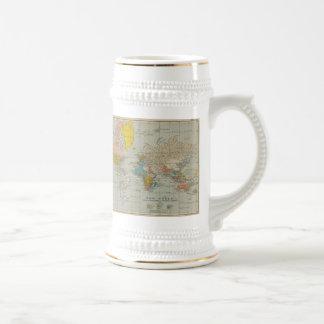 Carte 1910 du monde chope à bière