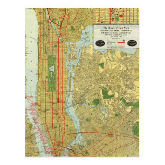 Carte 1918 centrale de chemin de fer de New York