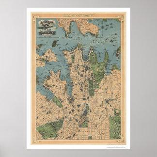 Carte 1922 de Sydney Australie Posters