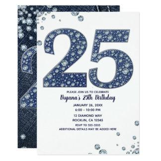 Carte 25ème anniversaire de denim et d'étincelle 25 de