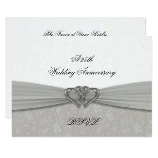 Carte 25ème anniversaire de mariage de damassé RSVP