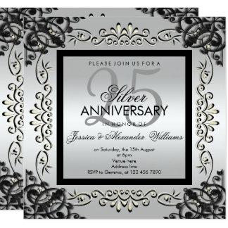 Carte 25ème anniversaire élégant d'argent et de mariage