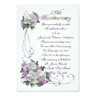 Carte 25ème Roses blancs de renouvellement de voeu