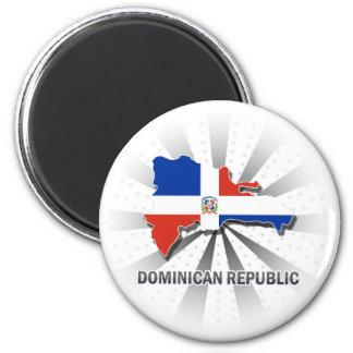 Carte 2,0 de drapeau de la République Dominicaine Magnet Rond 8 Cm