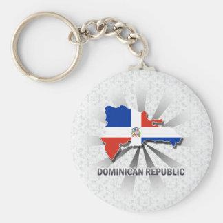 Carte 2,0 de drapeau de la République Dominicaine Porte-clé Rond