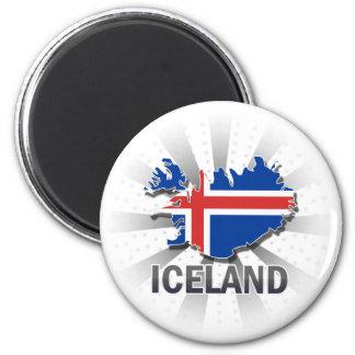 Carte 2,0 de drapeau de l'Islande Magnet Rond 8 Cm