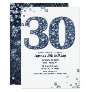 Carte 30ème anniversaire 30 de denim et d'étincelle de