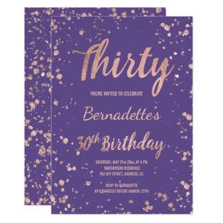 Carte 30ème anniversaire d'or de violette pourpre rose