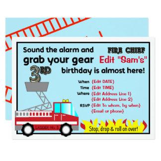 Carte 3ème sapeur-pompier d'invitations de fête