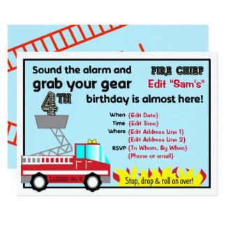 Carte 4ème sapeur-pompier d'invitations de fête