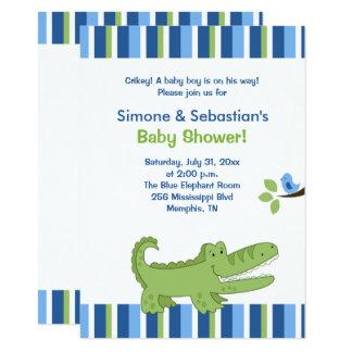 Carte 4x6 bleu/vert d'invitation de baby shower