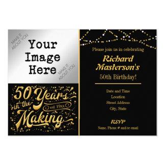 Carte 50 ans dans le cinquantième noir et or de