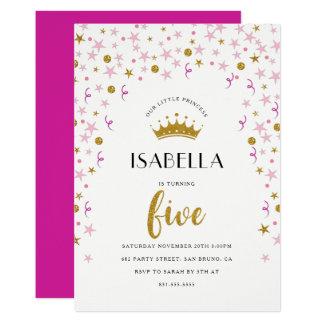 Carte 5ème anniversaire | or de princesse et confettis